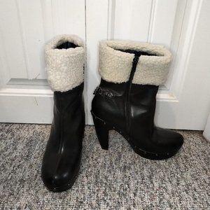 Stefania faux fur trim heeled zip up boot chain stud studded